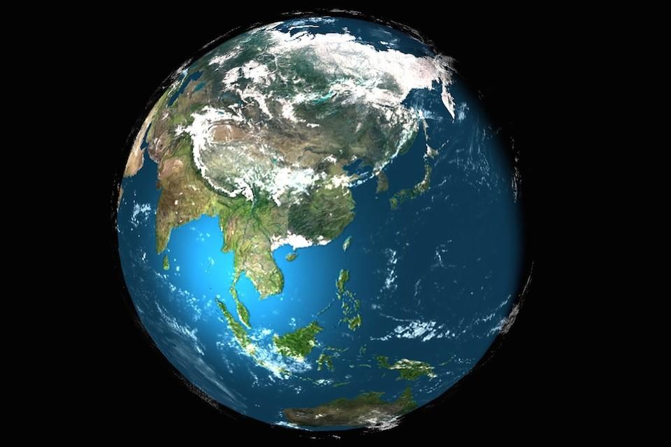 Земной шар с геолокацией