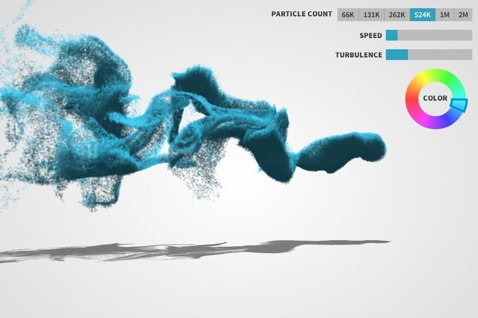 веб-эксперимент Управляй объёмными частицами