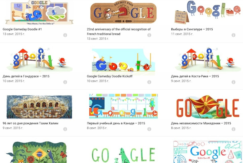 Все Дудлы Google