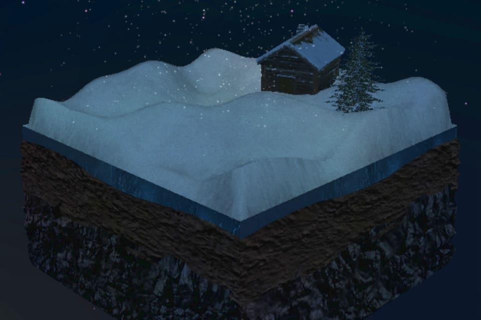 Домик в сугробе 3D